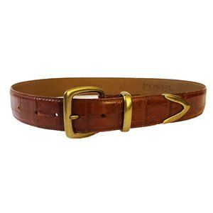 Fossil Croco Embossed Brown Leather Belt Size L